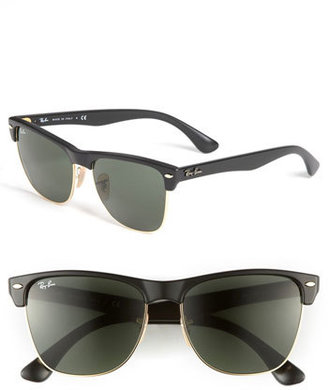Women's Ray-Ban 'Highstreet' 57Mm Sunglasses - Demi Black/ Green Solid $150 thestylecure.com