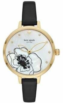 Kate Spade Metro Three-Hand Black Leather Watch