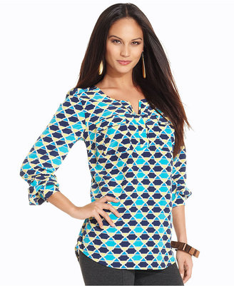 Style&Co. Top, Long-Sleeve Geometric-Print High-Low Blouse