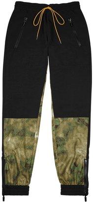 Rhude Black Camouflage-panelled Shell Sweatpants