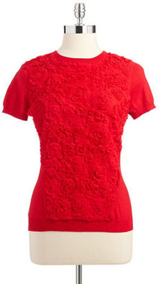 Vince Camuto Petite Short Sleeved Sweater with Floral Mesh Panel