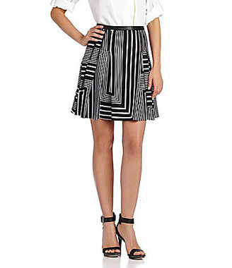 Calvin Klein Striped Pleated Skirt