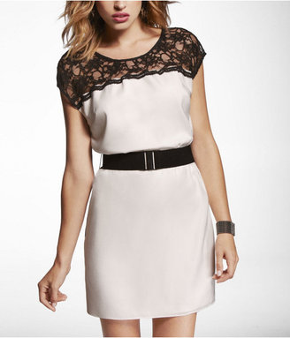 Express Lace Yoke Color Block T-Shirt Dress