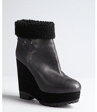 Sergio Rossi black leather, suede and faux shearling platform wedge ankle boots