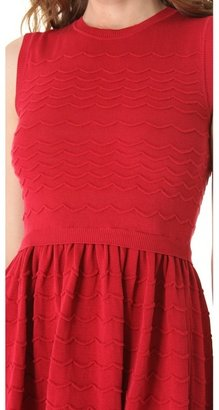 RED Valentino Scalloped Knit Sleeveless Dress