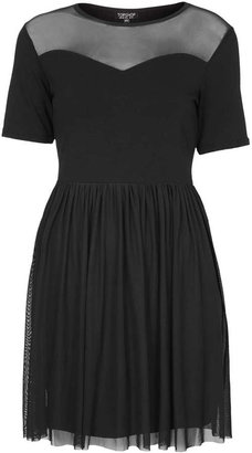 Topshop Mesh sweetheart mini dress