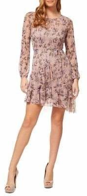 Dex Floral Tie-Waist Fit--Flare Dress