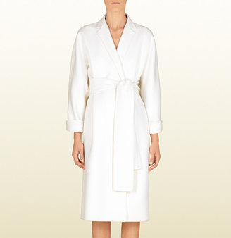 Gucci Natural White Wool Deconstructed Wrap Coat