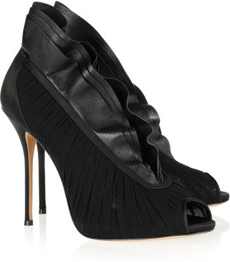 Casadei Ruffled leather and ruched tulle ankle boots