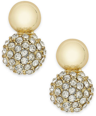 Charter Club Earrings, Gold-Tone and Pave Double Drop Earrings