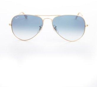 Ray-Ban Gold Metal And Light Blue Lens Aviator Sunglasses