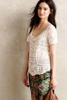 Anthropologie Meadow Rue Embroidered Mesh Tee