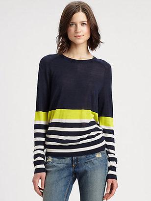 Equipment Sloane Harbour-Stripe Silk Sweater