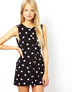 Asos Shift Playsuit in Spot Print - Black