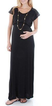 Women's Everly Grey Lace Yoke Maxi Maternity Dress $68 thestylecure.com