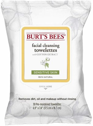 Burt's Bees Sensitive Facial Cleansing Towelettes with Cotton Extract (30 count) by 30 Wipes)