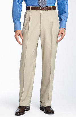 Ballin Men's Double Reverse Pleated Wool Twill Trousers