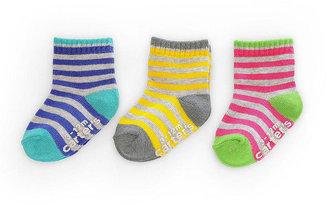 Gold Bug Carter's Girls Socks 3-Pack - Gray Striped (12-24 Months)