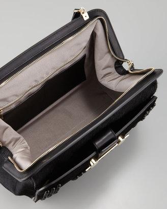 Jason Wu Daphne Studded Calf Hair Shoulder Bag, Black