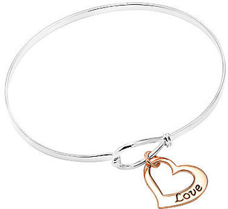 JCPenney FINE JEWELRY Sterling Silver Love Heart Bangle Bracelet