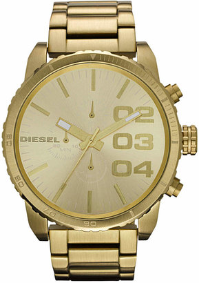 Diesel Watch, Chronograph Gold-Tone Stainless Steel Bracelet 51mm DZ4268 $240 thestylecure.com