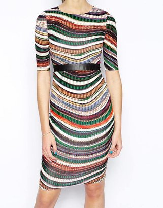 AX Paris Swing Dress in Wave Stripe Print with PU Band