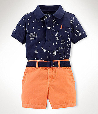 Ralph Lauren 9-24 Months Preppy Polo Shirt & Chino Shorts