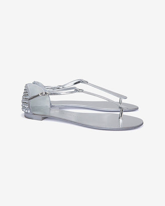 Giuseppe Zanotti Exclusive Crystal Heel Thong Sandals: Silver