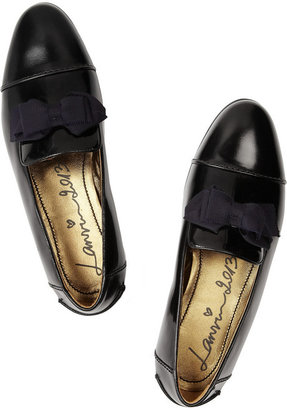Lanvin Bow-embellished glossed leather loafers