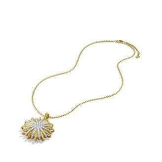 David Yurman Starburst Large Pendant with Diamonds in Gold on Chain