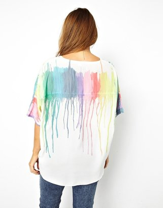 Asos Top With Plunge Neckline In Melting Rainbow Print