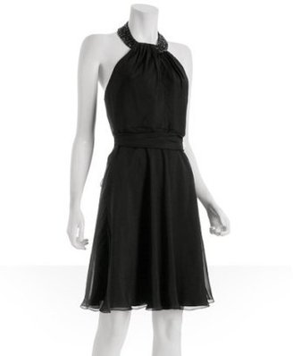 Carmen Marc Valvo black silk chiffon beaded halter neck dress
