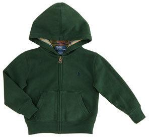 Ralph Lauren Long-Sleeve Zip Hoodie, Bentley Green, 2T-3T