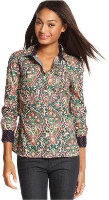 Tommy Hilfiger Long-Sleeve Paisley-Print Shirt