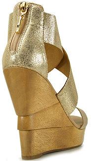 Diane von Furstenberg Opal - Metallic Leather Wedge Sandal in Platino