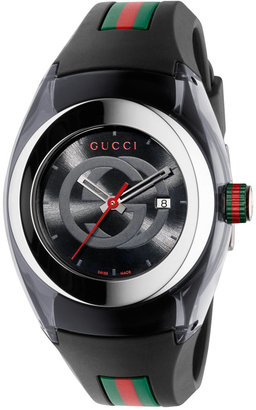 Gucci Sync Unisex Swiss Black Striped Rubber Strap Watch 36mm YA137301 $495 thestylecure.com