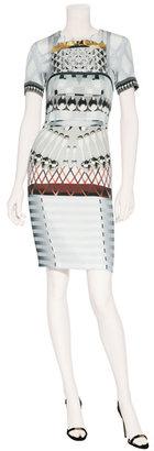 Mary Katrantzou Silver Snowglad Silk Dress