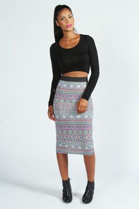 Boohoo Rita Multi Colour Aztec Jersey Midi Skirt