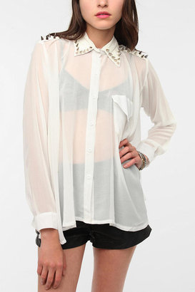 Urban Outfitters UNIF Spiked Collar Chiffon Blouse