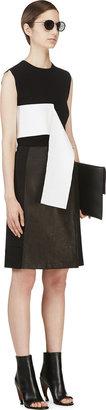 Calvin Klein Collection Black Leather Panel Nousha Wrap Skirt