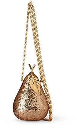 Anya Hindmarch Pear glitter–embellished framed clutch