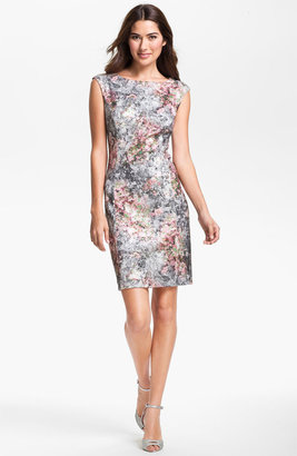 Kay Unger Metallic Print Sheath Dress