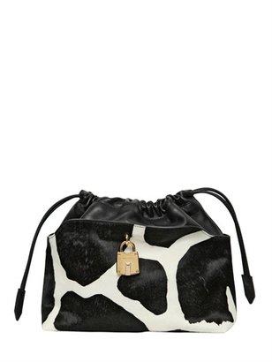 Burberry Small Cow Printed Ponyskin Bag