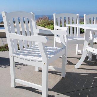 """Vifah Bradley Outdoor Patio Acacia Hardwood Bar Chair - White - 18""""L x 22""""W x 49""""H"""