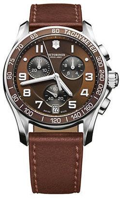 Swiss Army Victorinox Mens Chrono Classic Brown Leather Watch