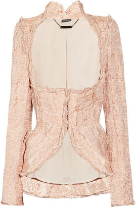 Alexander McQueen Embellished crinkled-organza and copper thread jacket