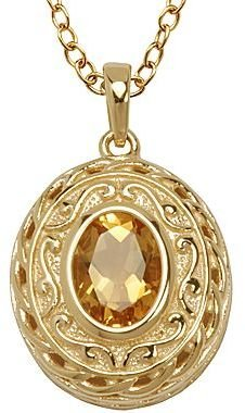 JCPenney 14K Gold-Plated Sterling Silver Citrine Pendant
