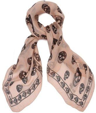 Alexander McQueen Classic Silk Chiffon Skull Scarf