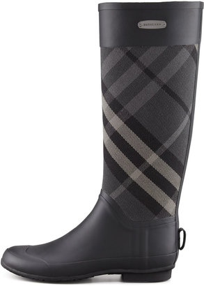 Burberry Clemence Mixed Media Rain Boot, Charcoal