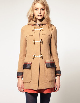 Asos Duffle Coat With Check Contrast